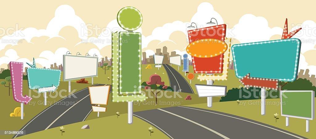 Cartoon road with billboards. vector art illustration