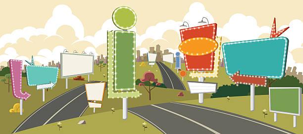 Route dessin animé avec des panneaux d'affichage. - Illustration vectorielle