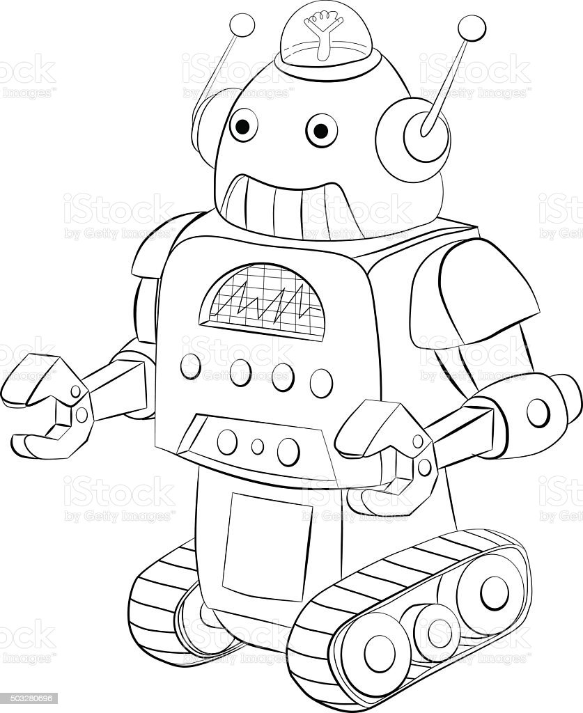 Cartoon Robot Crawler Coloring Book Stock Vector Art