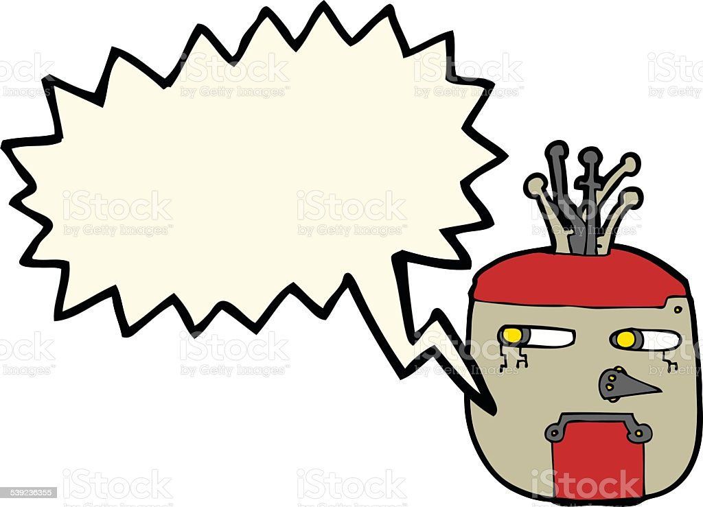 cartoon robot head with speech bubble royalty-free cartoon robot head with speech bubble stock vector art & more images of bizarre