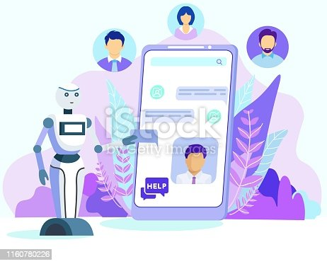 Cartoon AI Robot Help Customer Chatbot on Mobile Phone Screen Vector Illustration. Bot Assistant Chat, Android Assistance. Virtual Consultant. Tech Support Service. Future Technology