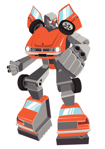Cartoon robot made from vintage car, vector