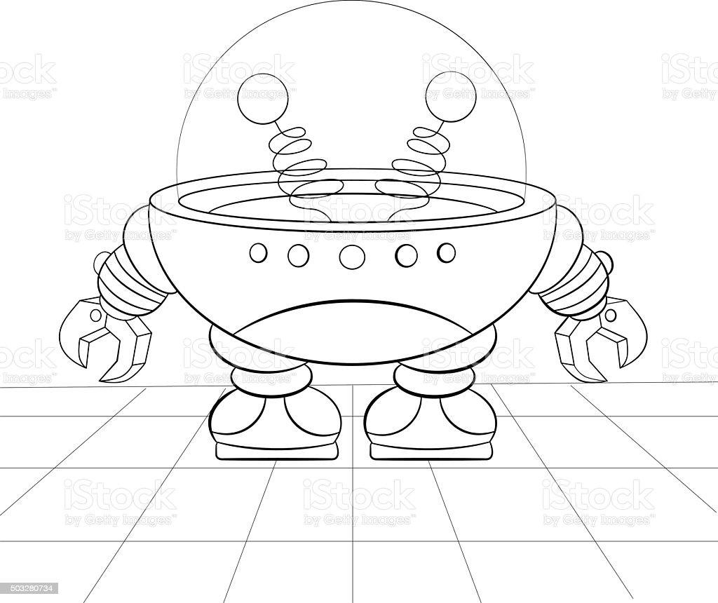 Ilustración De Robot De Historieta Reparación Libro Para Colorear Y