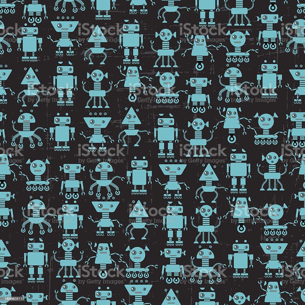 Cartoon robots seamless pattern. royalty-free stock vector art