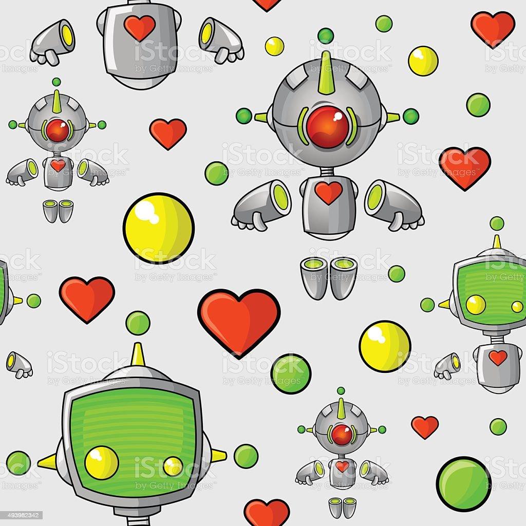 Cartoon Robots Seamless Pattern vector art illustration