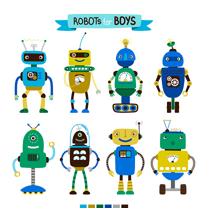 Cartoon robots set for boys