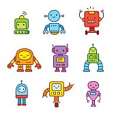 Cartoon robots set.