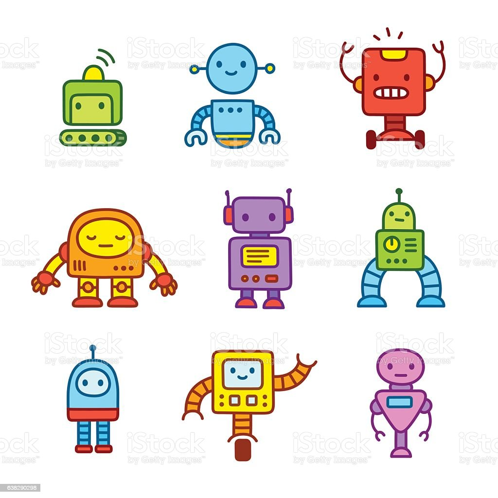 Cartoon robots set. vector art illustration