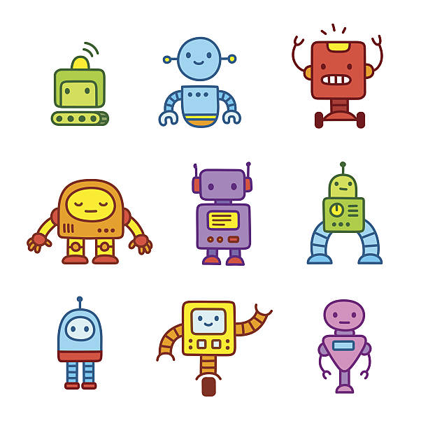 cartoon robots set. - robotics stock illustrations, clip art, cartoons, & icons