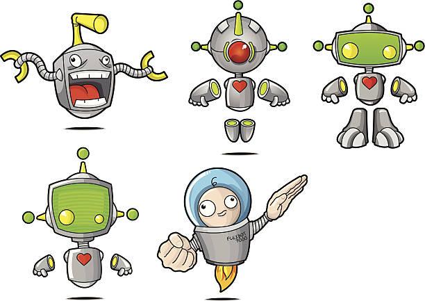 Cartoon Robots vector art illustration