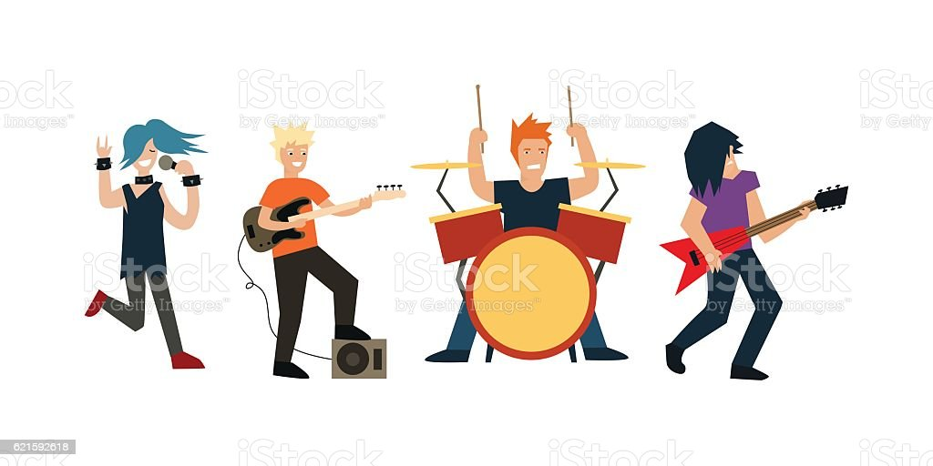 Cartoon Rock Band. Vector vector art illustration