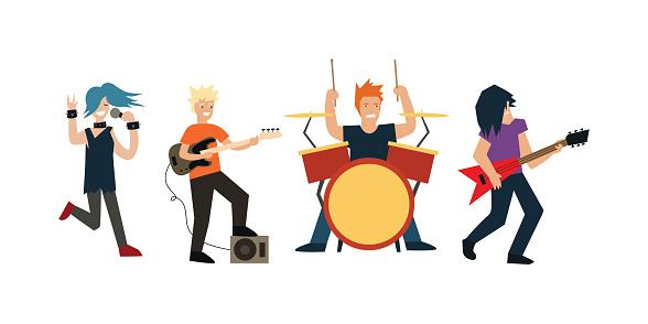 Cartoon Rock Band Vector Stock Vektor Art und mehr Bilder von Aufführung