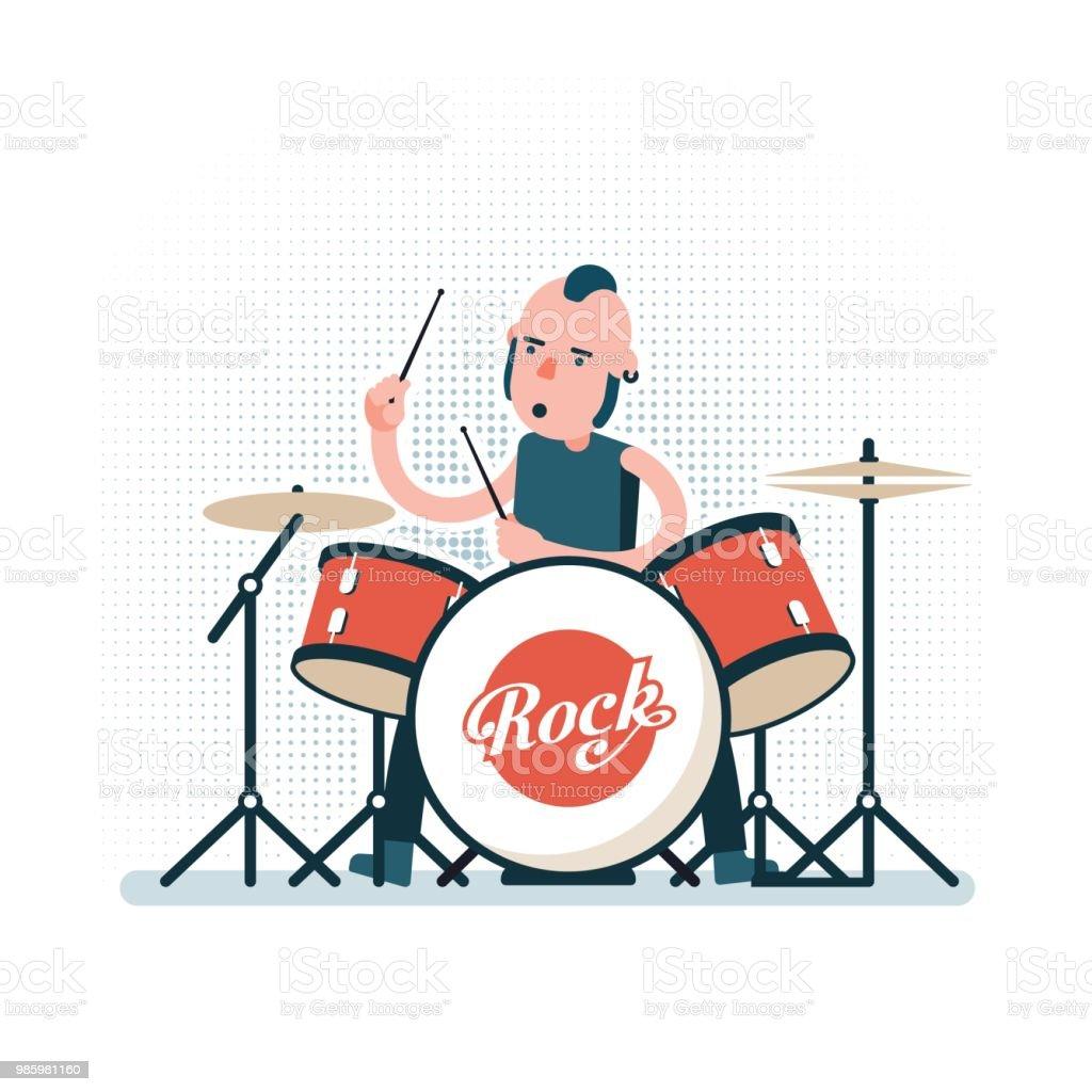 Cartoonrockdrummer Auf Schlagzeug Zu Spielen Abbildung Im Flachen