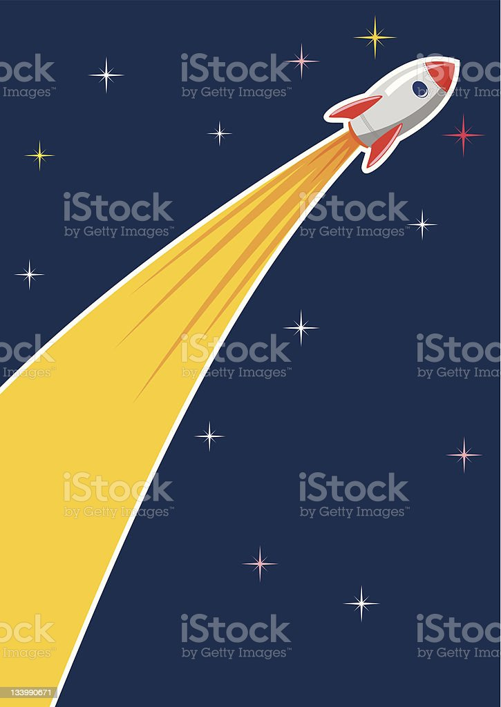 Cartoon rocket ship with a trail of fire royalty-free stock vector art