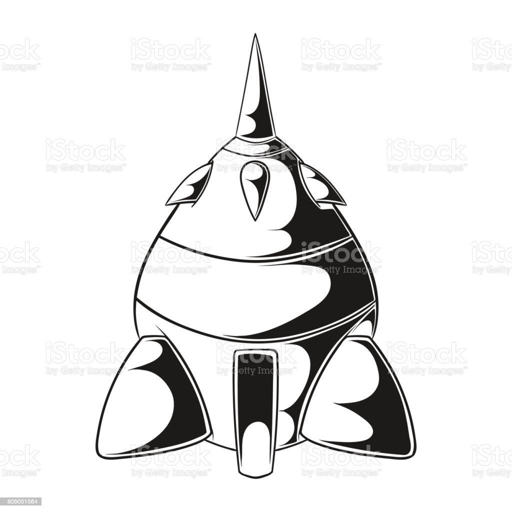 çizgi Film Roket Uzay Gemisi Beyaz Bir Arka Plan Basit Retro Uzay