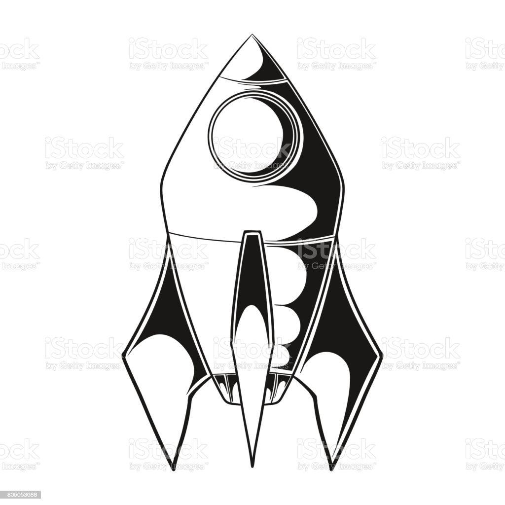 Ilustración De Dibujos Animados De Cohete Espacial Nave