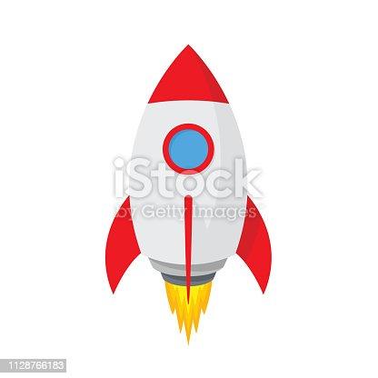 Cartoon rocket space ship. Simple spaceship icon - stock vector.
