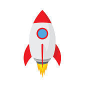 Cartoon rocket space ship. Simple spaceship icon - stock vector.