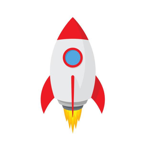ilustrações, clipart, desenhos animados e ícones de desenhos animados, foguete espacial. ícone de nave simples - vetor das ações. - foguete espacial
