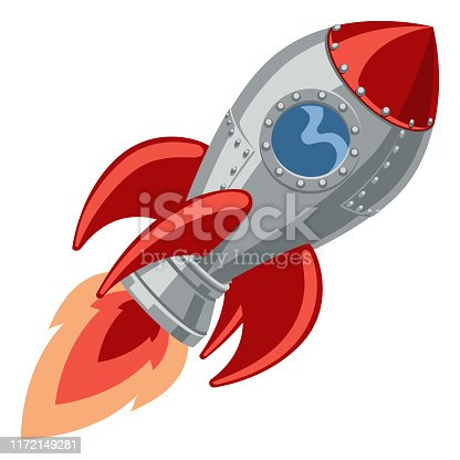 A cartoon rocket space ship with booster shooting out flame