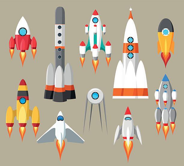 stockillustraties, clipart, cartoons en iconen met cartoon rockets icons - raket ruimteschip