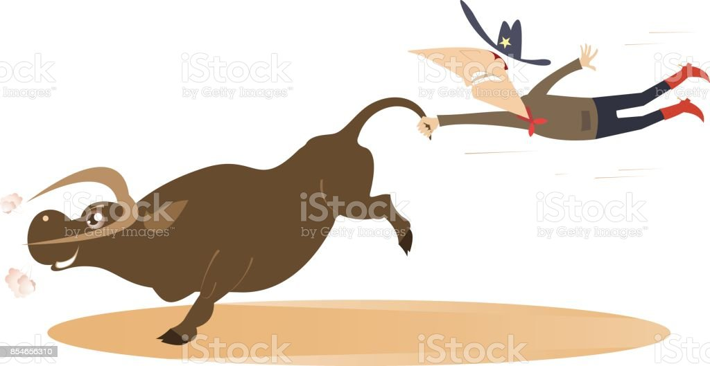 Cartoon rodeo illustration with cowboy and bull vector art illustration