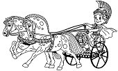 cartoon boy warrior in a roman chariot pulled by two horses. Black and white outline vector illustration. Coloring page for little kids