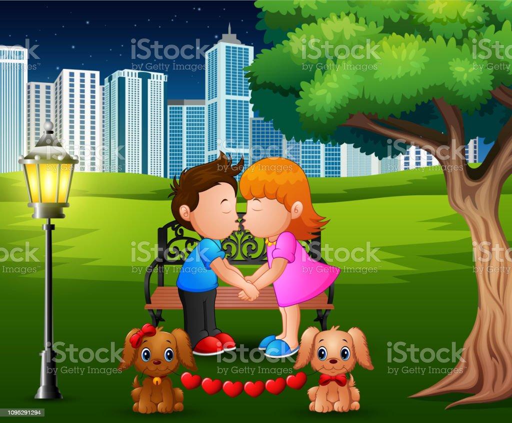 Cizgi Film Romantik Cift Bir Parkta Agac Altinda Opusme Stok Vektor Sanati Animasyon Karakter Nin Daha Fazla Gorseli Istock