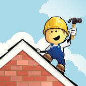 Cute cartoon roofer working on tiles with his hammer on the roof. Layered & grouped for ease of use. Download includes EPS8 file and hi-res jpeg.