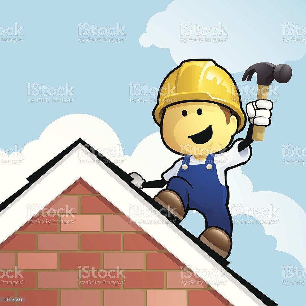 Cartoon roofer vector art illustration