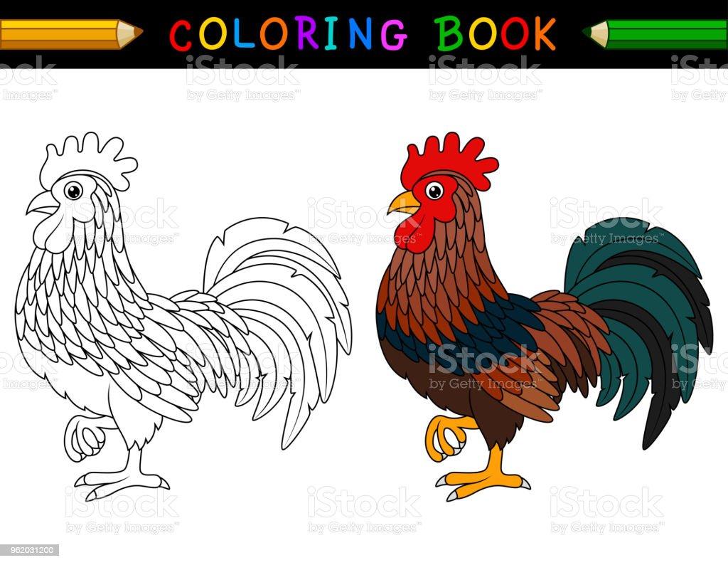 Buku Mewarnai Ayam Kartun Ilustrasi Stok Unduh Gambar Sekarang Istock