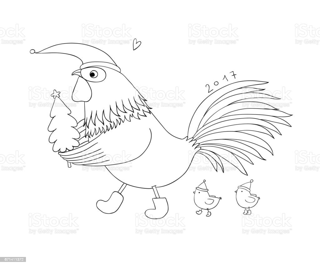 Cartoon Rooster Cute Little Chickens And Christmas Tree Stock Vector ...