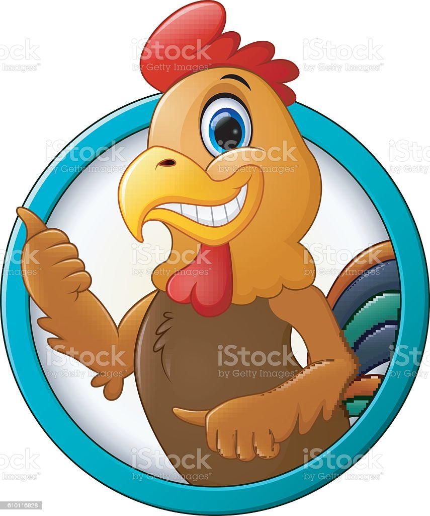 Cartoon rooster gives thumb up vector art illustration