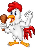 Cartoon rooster holding fried chicken and giving OK sign
