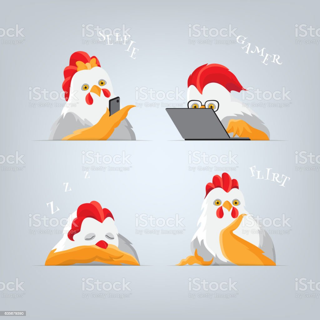 Cartoon Roosters and hens vector art illustration
