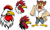 Cartoon roosters or cocks