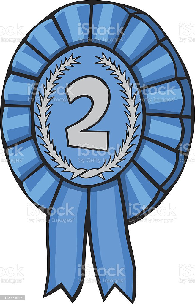 Cartoon Rosette Second Prize royalty-free cartoon rosette second prize stock vector art & more images of award