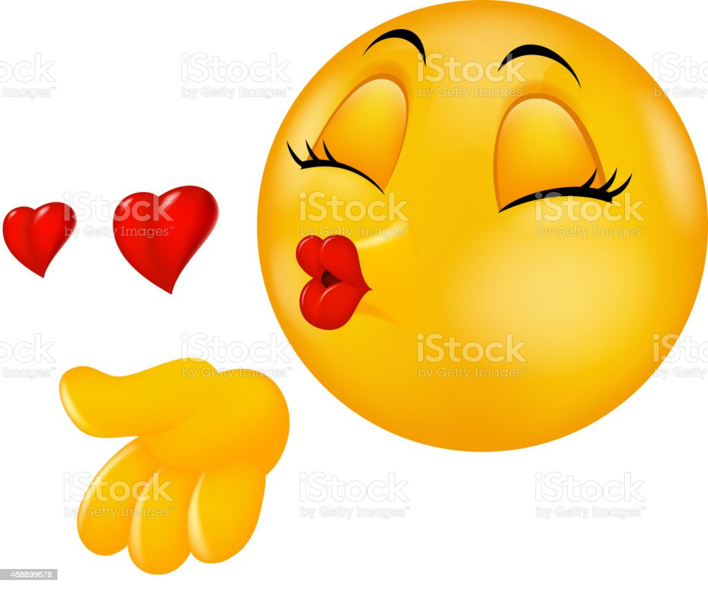 Cartoon round kissing face emoticon making air kiss vector art illustration