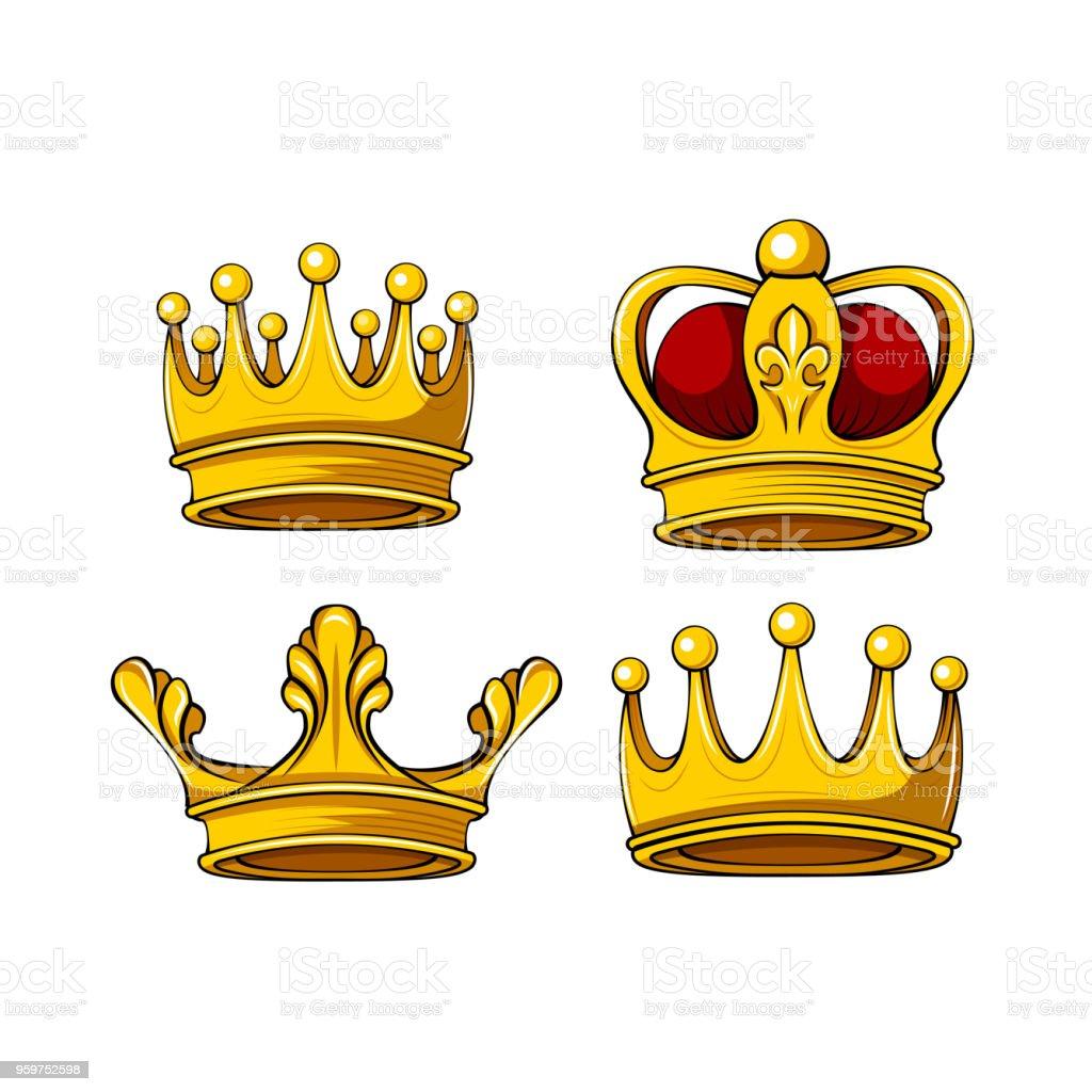 Ilustración De Corona Real Conjunto De Iconos De Dibujos Animados