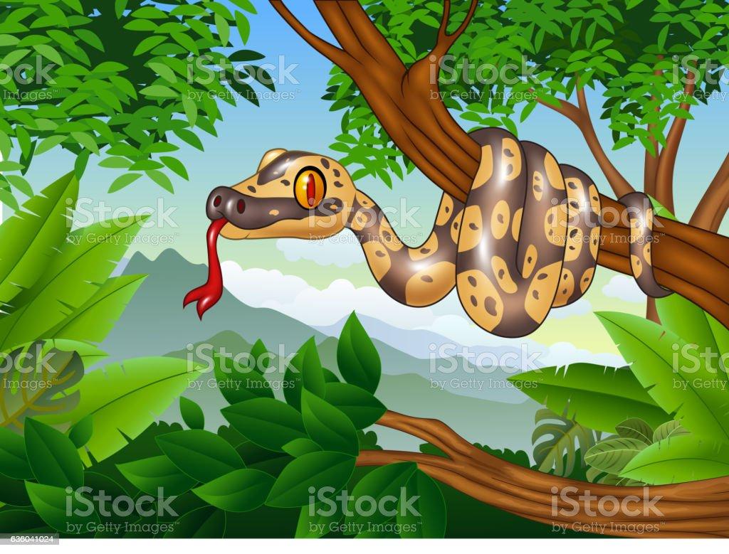 Cartoon Royal Python snake creeping on a branch vector art illustration