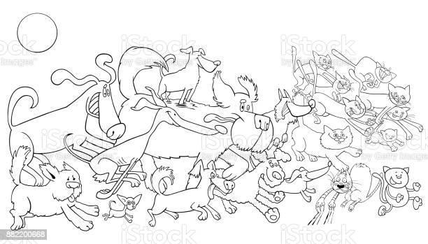 Cartoon running dog and cats color book vector id882200668?b=1&k=6&m=882200668&s=612x612&h=dlme2mxicvhmha qjnam8k3 bjupst38xybwccp  kg=