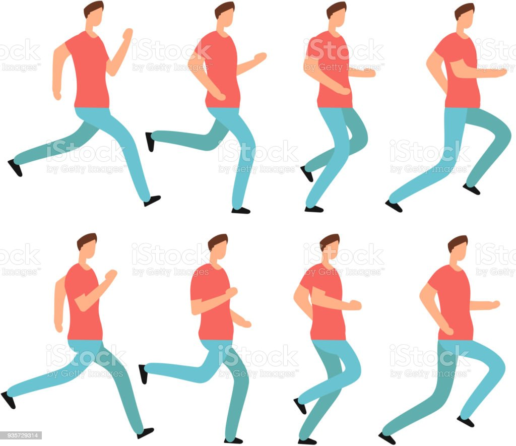 Cartoon Running Man In Casual Clothes Young Male Jogging Animation ...