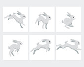 Cartoon running rabbit animation sprite sheet isolated on white background