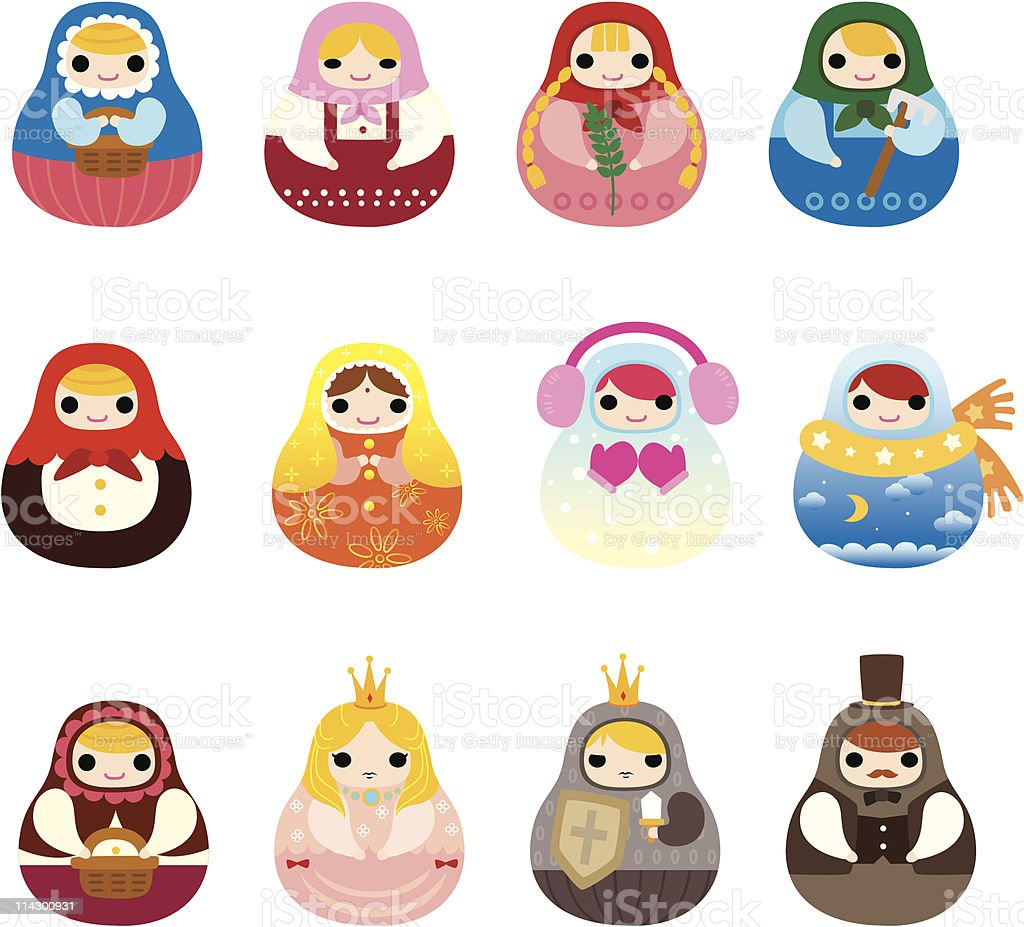 cartoon Russian dolls icon set royalty-free stock vector art