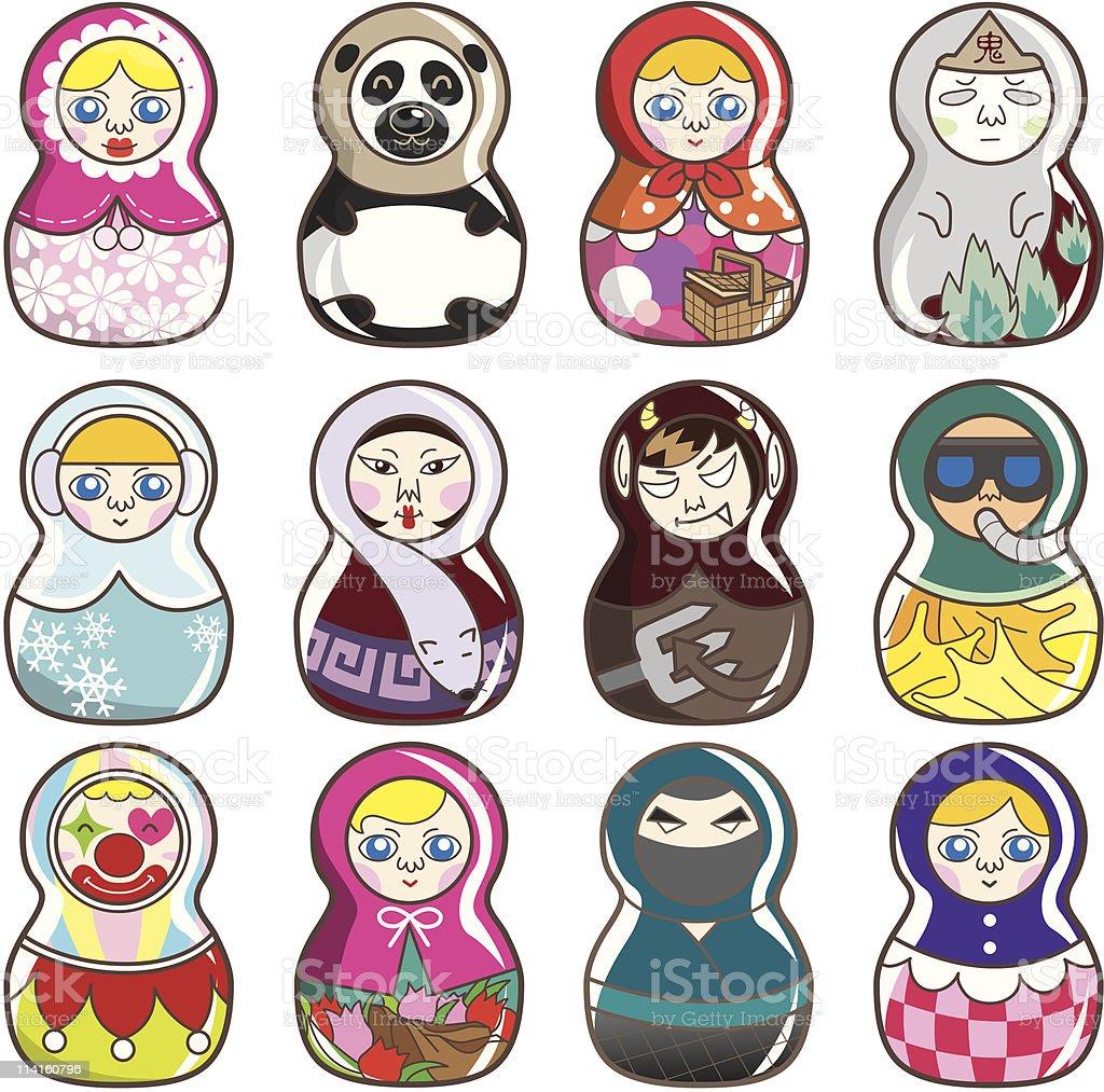 cartoon Russian dolls icon royalty-free cartoon russian dolls icon stock vector art & more images of babushka