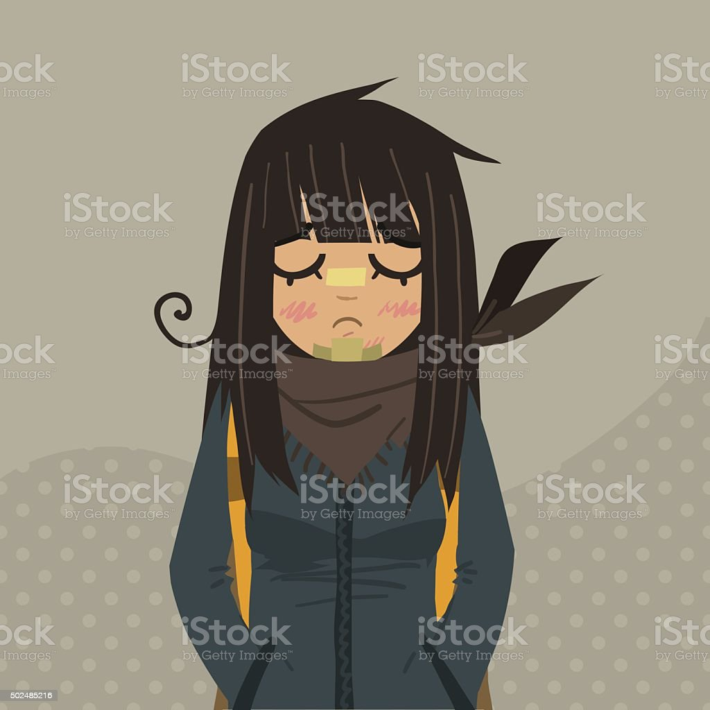 Cartoon sad girl mascot. vector art illustration