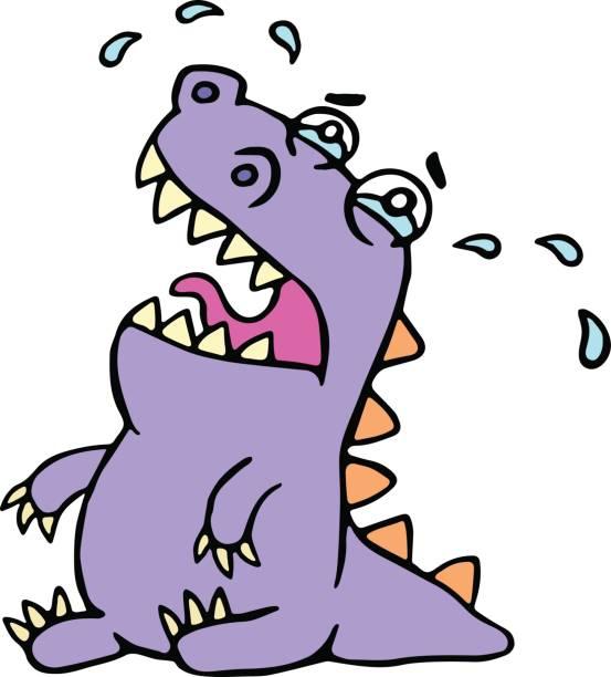cartoon sad purple croc. vector illustration. - dragon eye stock illustrations, clip art, cartoons, & icons