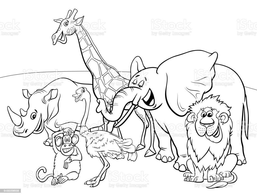çizgi Safari Hayvan Kahramanlar Boyama Kitabı Stok Vektör Sanatı