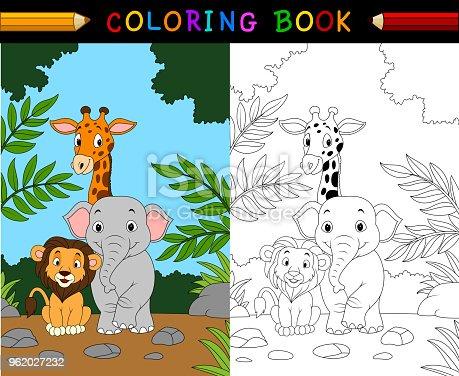 Vector illustration of Cartoon safari animal coloring book