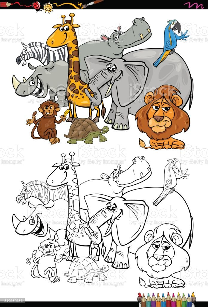 Ilustración de Dibujos Animados De Animales De Safari Para Colorear ...